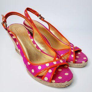 J Crew Polka Dot Slingback Cross Wedge Shoes 7